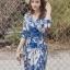 ชุดเดรสเกาหลี พร้อมส่ง maxi dress สีน้ำเงินพิมพ์ลายดอก thumbnail 3