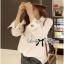 เสื้อเกาหลี พร้อมส่ง เสื้อเชิ้ต สีขาวปักลายการ์ตูน thumbnail 5