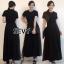 พร้อมส่ง Maxi dress สีดำคอกลมแขนสั้น thumbnail 2