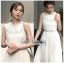 เดรสเกาหลี พร้อมส่ง เดรสยาว ผ้าชีฟอง แขนกุด ปักลาย thumbnail 11