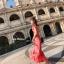 ชุดเดรสเกาหลี พร้อมส่ง Maxi Dress เดรสยาว ลายดอกไม้สีชมพู thumbnail 3