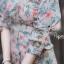 ชุดเดรสเกาหลี พร้อมส่ง เดรส ปริ๊นลายดอก คอวีทบ thumbnail 16