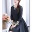 ชุดเดรสเกาหลี ผ้าคอตตอนสีดำ พร้อมส่ง thumbnail 7