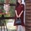 ชุดเดรสเกาหลี พร้อมส่ง Dress ผ้าจอเจียเนื้อดี thumbnail 1
