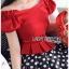 เสื้อผ้าเกาหลี พร้อมส่ง เสื้อคร็อปสีแดงและกระโปรงลายจุด thumbnail 3