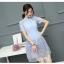 เดรสเกาหลี พร้อมส่ง เดรสสั้น สีฟ้า คอจีน แขนสั้น thumbnail 5