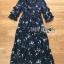 ชุดเดรสเกาหลี พร้อมส่ง เดรสยาว ผ้าชีฟองสีน้ำเงินพิมพ์ลายดอกไม้ thumbnail 12