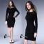 พร้อมส่ง Mini dress สีดำพื้นแขนยาว thumbnail 5