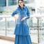 ชุดเดรสเกาหลี พร้อมส่ง Maxi Dress ยีนส์ระบาย thumbnail 1