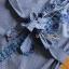 พร้อมส่ง เสื้อผ้าคอตตอนลายตารางปักลายดอกไม้ thumbnail 7