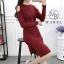 เดรสเกาหลี พร้อมส่ง มินิเดรส ผ้าไหมพรมยืดตามตัว thumbnail 14