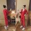 เสื้อผ้าเกาหลี พร้อมส่ง ชุดเซ็ทเสื้อคลุม+กางเกง thumbnail 3