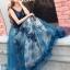 พร้อมส่ง Long dress แขนกุดผ้ามุ้งสีกรม สองชั้น thumbnail 4