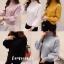 เสื้อเกาหลี พร้อมส่ง เสื้อไหมพรมคอปีนแขนจั้ม thumbnail 5