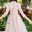 พร้อมส่ง Long dress สีชมพูโอรส แขน 5 ส่วน thumbnail 5