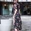 ชุดเดรสเกาหลี พร้อมส่ง Maxi Dress ผ้าชีฟอง ลายดอก thumbnail 8