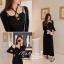 เสื้อผ้าเกาหลี พร้อมส่ง เดรสยาวกับเสื้อคลุมสีดำ thumbnail 3