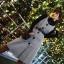 ชุดเดรสเกาหลี พร้อมส่ง เสื้อคอปีน+เดรสกระโปรง thumbnail 4