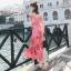 ชุดเดรสเกาหลี พร้อมส่ง Maxi Dress เดรสยาว ลายดอกไม้สีชมพู thumbnail 4