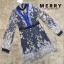 เสื้อผ้าเกาหลี พร้อมส่ง ชุดจั๊มสูท ผ้าแก้วปักลายดอกไม้ thumbnail 3