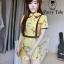 เสื้อผ้าเกาหลี พร้อมส่ง จั้มสูท คอบัวปักดอกไม้ thumbnail 1