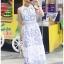 ชุดเดรสเกาหลี พร้อมส่ง เดรสยาว ผ้าพื้นสีขาวพิมพ์ลายสีฟ้า thumbnail 7