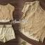 เสื้อผ้าเกาหลี พร้อมส่ง เสื้อคอปาดกับกางเกงสีครีม thumbnail 3