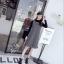 เดรสเกาหลี พร้อมส่ง เดรสผ้าชาแนลสีขาวดำ ทรงเอ thumbnail 7