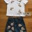 พร้อมส่ง เสื้อยืดสีขาวและกางเกงยีนส์ขาสั้นปักดอกไม้ thumbnail 10
