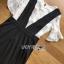 พร้อมส่ง เดรสเอี้ยมผ้าเครปสีดำทรง scallop thumbnail 7