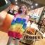 เสื้อเกาหลี พร้อมส่ง เสื้อไหมพรม สลับสีสดใสเป็นเรนโบว์ thumbnail 1