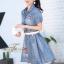 เดรสเกาหลี พร้อมส่ง เดรสคอปก เนื้อผ้ายีนส์ สีฟอก thumbnail 5
