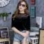 เสื้อเกาหลีแขนสามส่วน ซีทรูช่วงบน พร้อมส่ง thumbnail 4