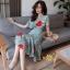 เดรสเกาหลี พร้อมส่ง ชุดเดรสผ้าชีฟอง ลายดอกไม้ thumbnail 2