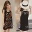พร้อมส่ง mini dress สีดำแขนกุด ปักดอกไม้ thumbnail 3