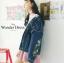 เสื้อเกาหลี พร้อมส่ง แจ๊คเก็ตยีนส์ ปักดอกไม้ thumbnail 3