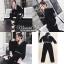 เสื้อผ้าเกาหลี พร้อมส่ง เสื้อทรงครอปสีดำ คอวี thumbnail 7