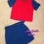 พร้อมส่ง เสื้อครอปทูโทน แดง น้ำเงิน ตกแต่งคริสตัลช่วงคอ thumbnail 5