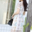 ชุดเดรสเกาหลี พร้อมส่ง Dress ผ้าแก้วปักลูกไม้ลายดอก thumbnail 6