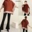 เสื้อผ้าเกาหลี พร้อมส่ง Top เสื้อคอตั้ง ผ้าไหมพรม thumbnail 5