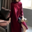 เดรสเกาหลี พร้อมส่ง Dress คอปีน แขนยาว thumbnail 3