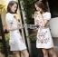 เดรสเกาหลี พร้อมส่ง เดรสผ้าเครปสีขาว กระโปรงเอไลน์ thumbnail 3