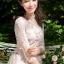 พร้อมส่ง Long dress สีชมพูโอรส แขน 5 ส่วน thumbnail 4