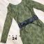 เดรสลูกไม้ พร้อมส่ง Maxi dress ลูกไม้ สีเขียว + เข็มขัดหนัง thumbnail 5