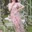 พร้อมส่ง เดรสผ้าทูลเลปักดอกไม้กุหลาบสีชมพู thumbnail 1