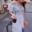 ชุดเดรสเกาหลี พร้อมส่ง Maxi Dress สม็อคไหล่ thumbnail 3