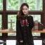 เสื้อเกาหลี พร้อมส่ง เสื้อคอปีน งานปักดอกไม้ thumbnail 1