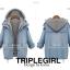 เสื้อผ้าเกาหลี พร้อมส่ง เสื้อแจ็คเก็ตยีนส์+เสื้อฮู้ดเทา thumbnail 5