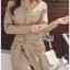 ชุดเดรสเกาหลี พร้อมส่ง เชิ้ตเดรสผ้าคอตตอนสีเบจ thumbnail 8
