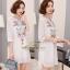 เดรสเกาหลี พร้อมส่ง Mini Dress คอกลม แขน 5 ส่วน thumbnail 2